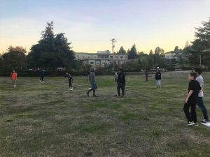 youth group playing kickball